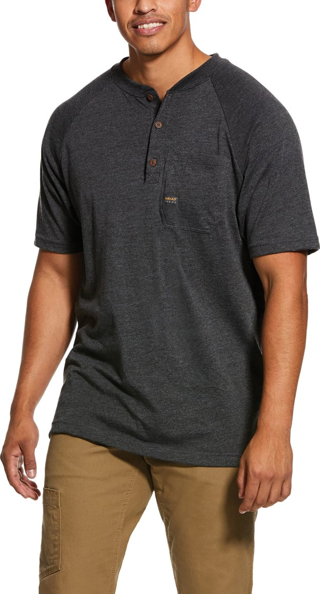 Ariat Rebar Cottonstrong S/S Henley Shirt - Charcoal Heather
