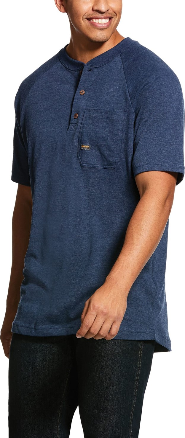 Ariat Rebar Cottonstrong S/S Henley Shirt - Navy Heather