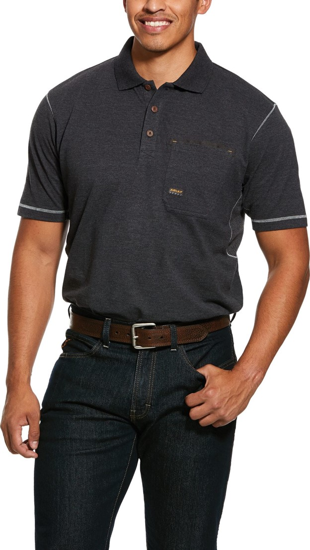 Ariat Rebar Workman Polo Pocket S/S Shirt - Charcoal Heather