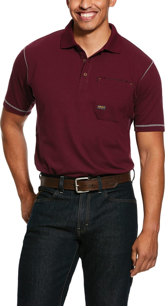 Ariat Rebar Workman Polo Pocket S/S Shirt - Malbec