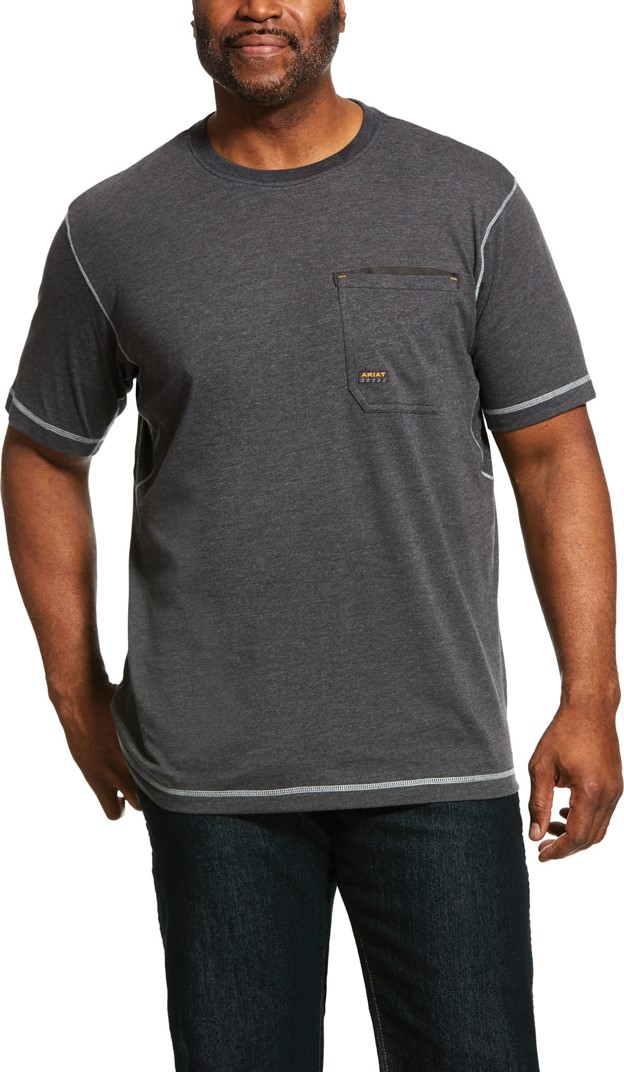 Ariat Rebar Workman Crewneck Pocket  S/S Shirt - Charcoal Heather
