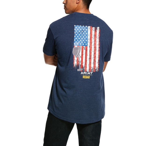 Ariat Rebar Cottonstrong American Grit S/S T-Shirt - Navy Heather