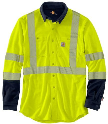 Carhartt FR Force Class 3 Hybrid L/S Shirt - Hi-Vis Yellow/Navy