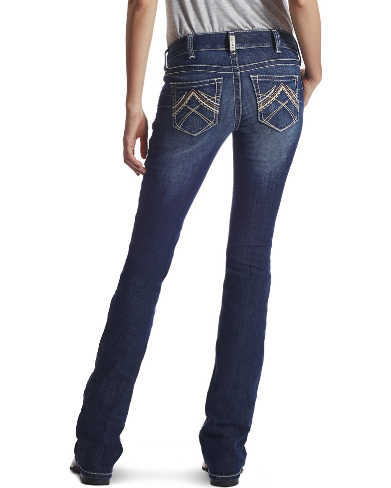 Ariat Women's R.E.A.L. Boot Cut Rosey Whipstitch Jeans - Blue