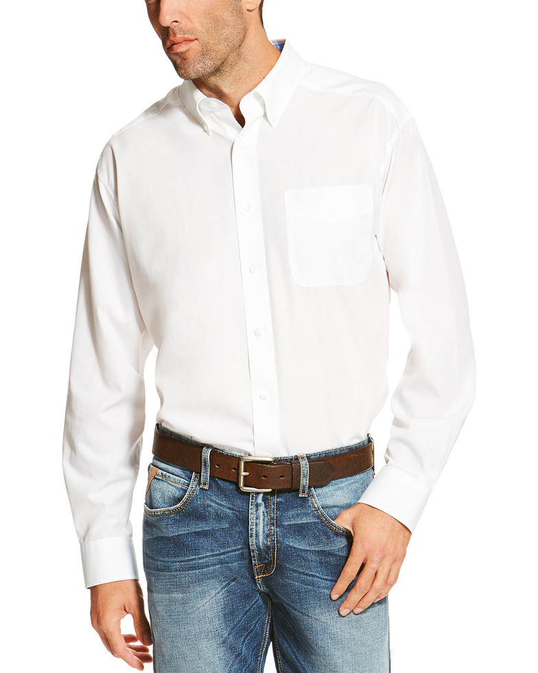 Ariat Wrinkle Free Solid L/S Shirt - White