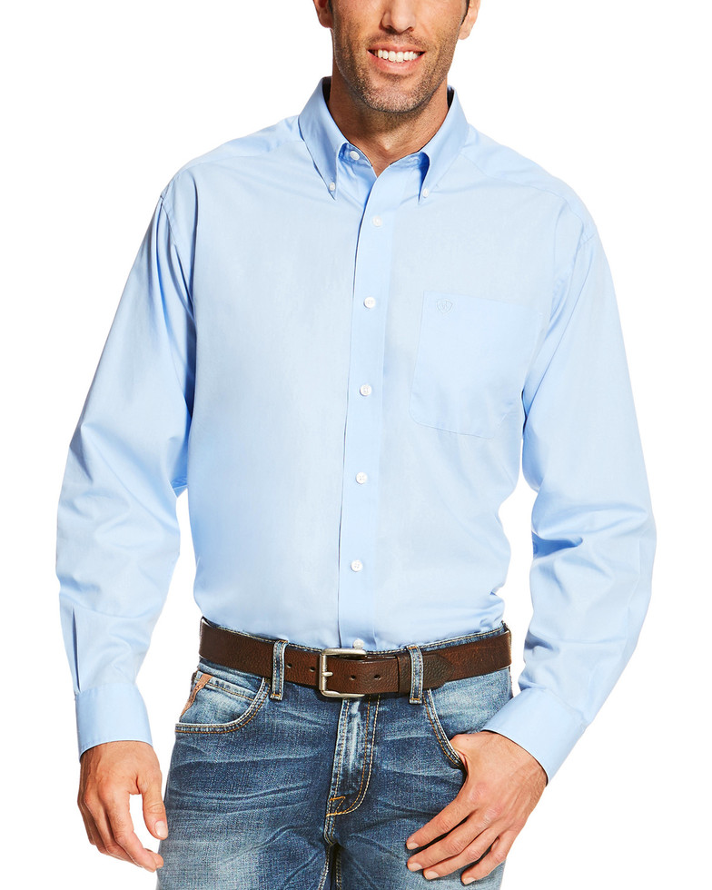 Ariat Wrinkle Free Solid L/S Shirt - Light Blue