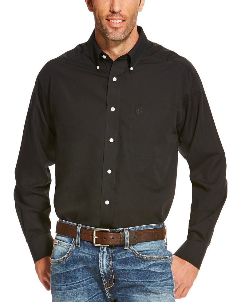Ariat Wrinkle Free Solid L/S Shirt - Black