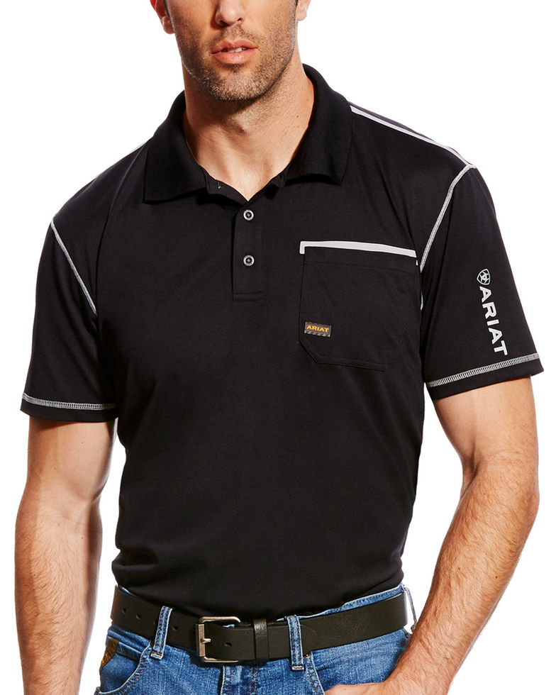 Ariat Rebar Freeze Point Polo Pocket S/S Shirt - Black