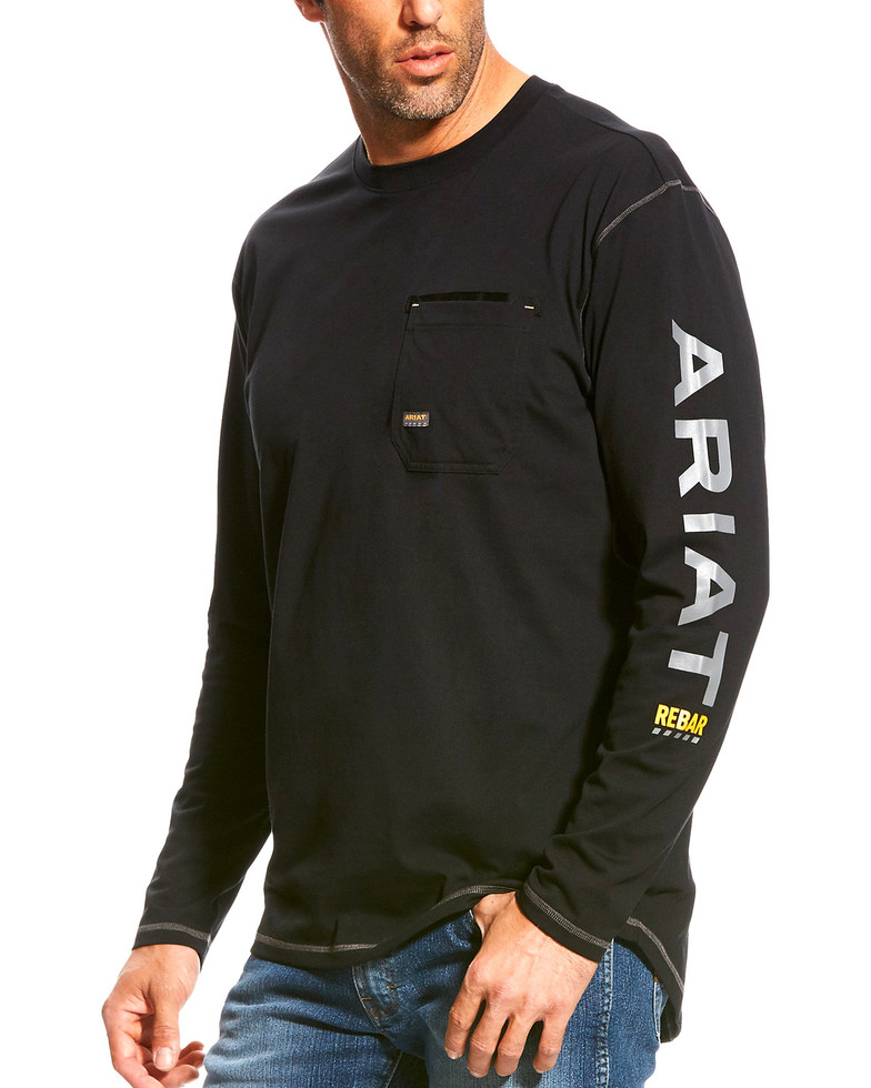 Ariat Rebar Workman Logo Crewneck Pocket L/S Shirt - Black