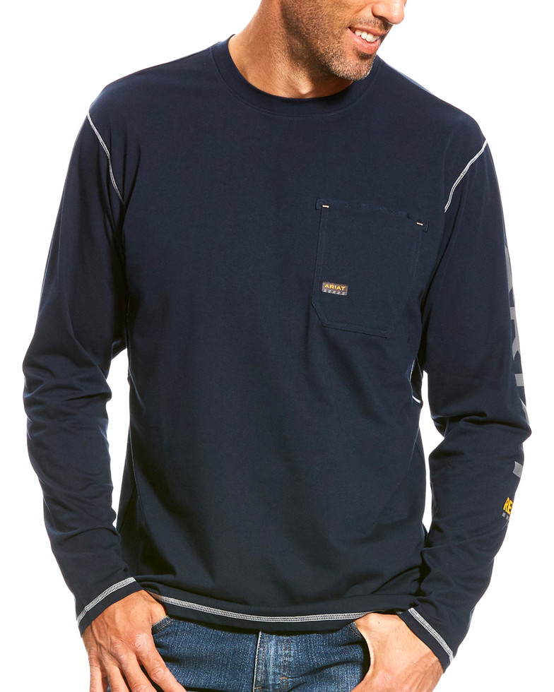 Ariat Rebar Logo Crewneck Pocket L/S Shirt - Navy