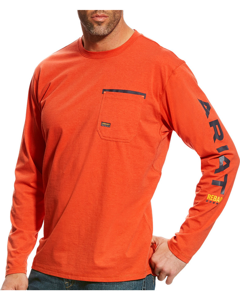 Ariat Rebar Workman Logo Crewneck Pocket L/S Shirt - Volcanic Fire