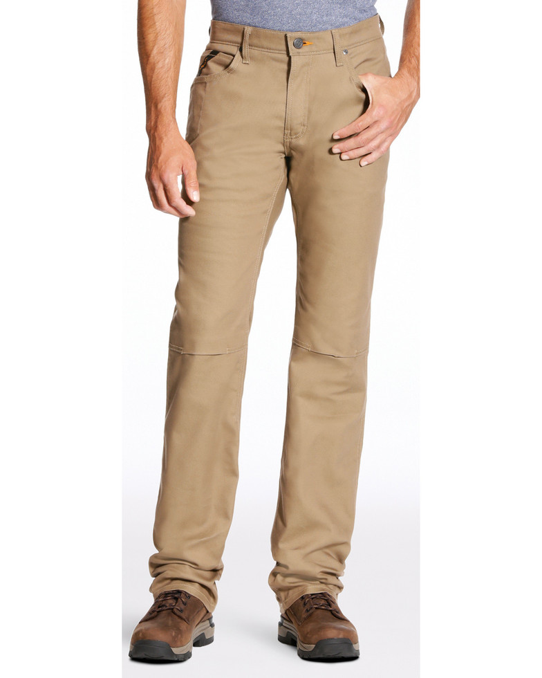 Ariat Relaxed Fit Boot Cut Rebar M4 Stretch Canvas 5 Pocket Pant - Khaki