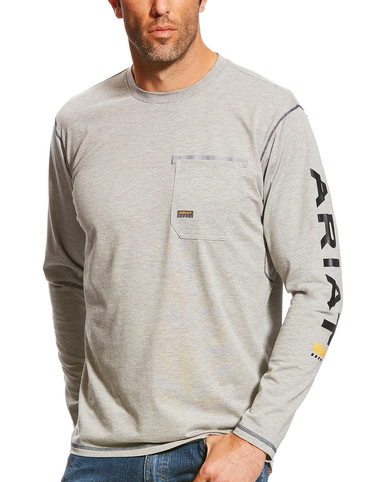 Ariat Rebar Workman Logo Crewneck Pocket L/S Shirt - Heather Gray