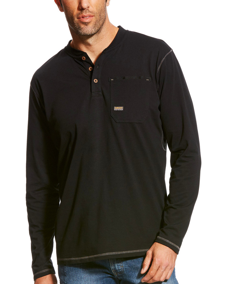 Ariat Rebar Henley Pocket L/S Shirt - Black