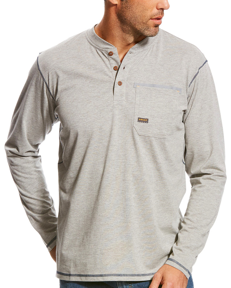 Ariat Rebar Henley Pocket L/S Shirt - Heather Gray