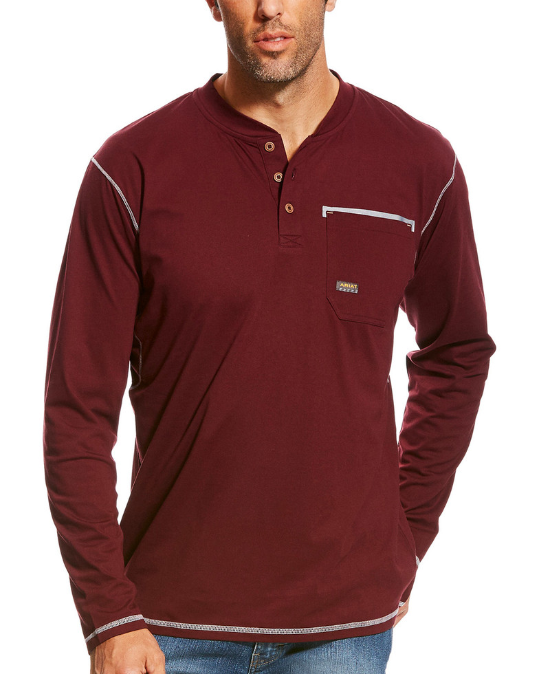 Ariat Rebar Henley Pocket L/S Shirt - Malbec