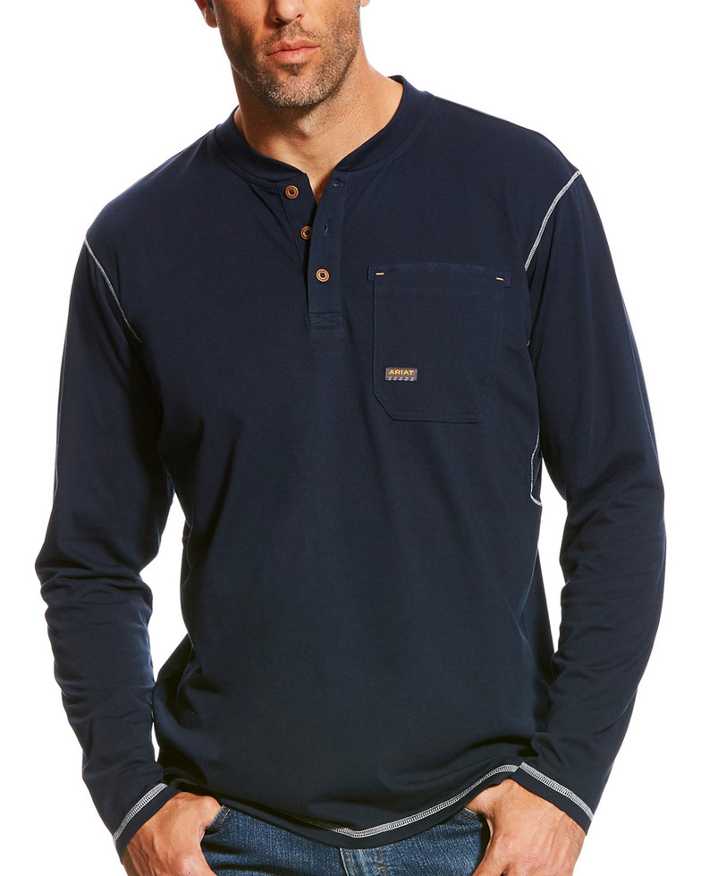 Ariat Rebar Henley Pocket L/S Shirt - Navy