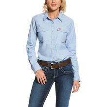 Ariat Women's FR Snap Front  Solid Durastretch L/S Work Shirt- Blue Twill