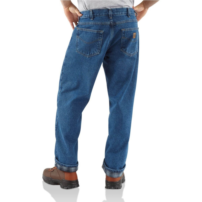 Carhartt Relaxed Fit Straight Leg Jean Flannel Lined