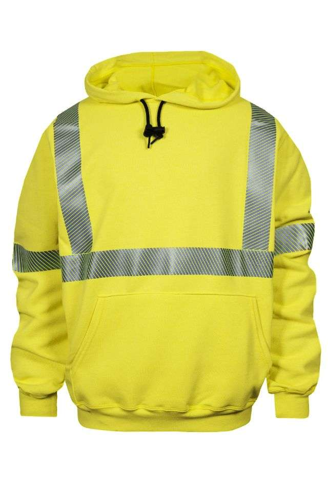 NSA FR Class 3 Heavyweight Hooded Pullover Sweatshirt - Hi-Vis Yellow