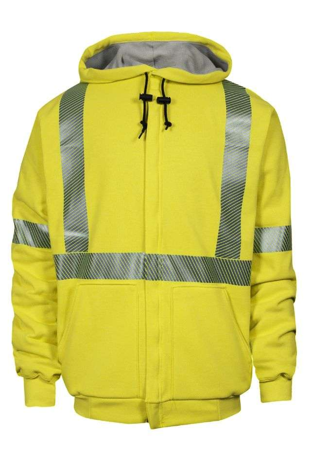 NSA FR Class 3 Thermal Lined Heavyweight Zip Front Sweatshirt - Hi-Vis Yellow