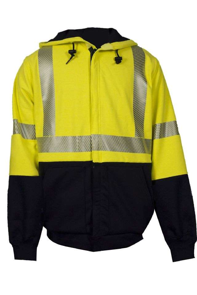 NSA FR HI-VIS Class 3 Midweight Hybrid Color Block Zip Front Hooded Sweatshirt - Hiv-Vis Yellow/Navy