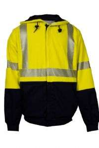 NSA FR  Hi-Vis Class 3 Thermal Lined Midweight Deluxe Hybrid Zip Front Hooded Sweatshirt - Hi-Vis Yellow/Navy