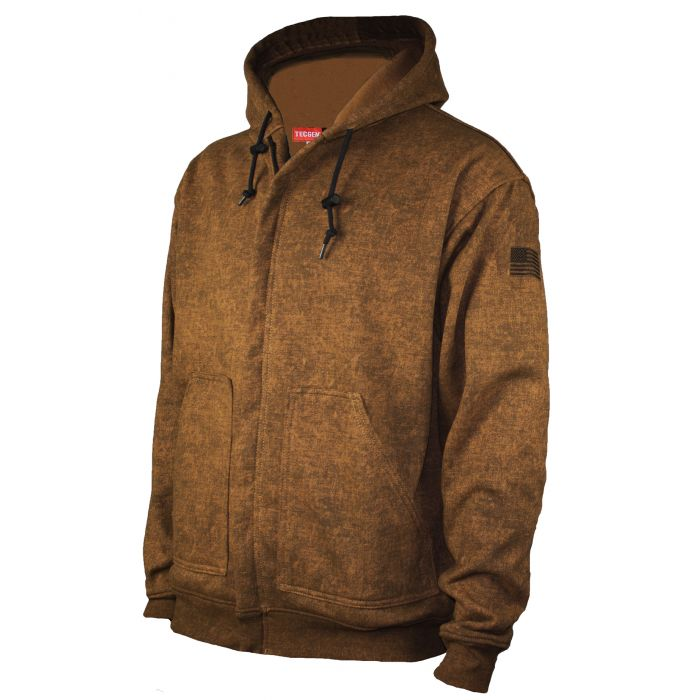 NSA FR Heavyweight Tacoma Hooded Zip Front Sweatshirt - Brown Multi