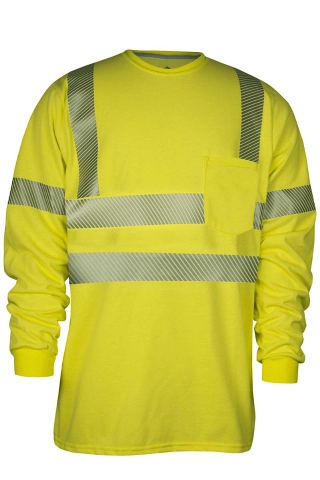 NSA FR Class 3 Crewneck Pocket L/S Shirt - Hi-Vis Yellow