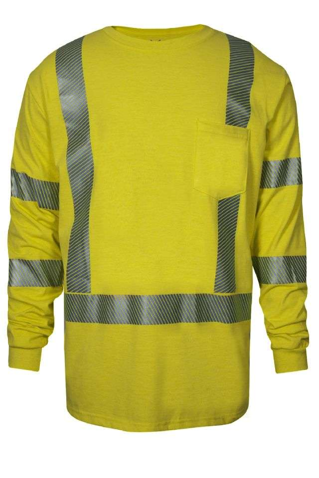 NSA DRI-FIRE FR HI-VIS Pocketed Strongknit L/S Shirt