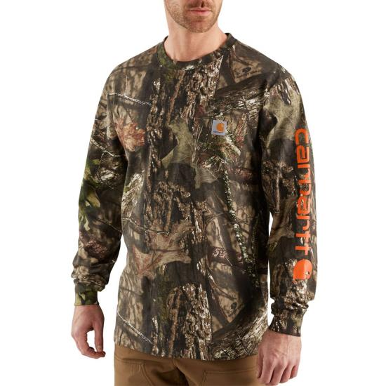 Carhartt Workwear Graphic Camo Logo Crewneck Pocket L/S Shirt