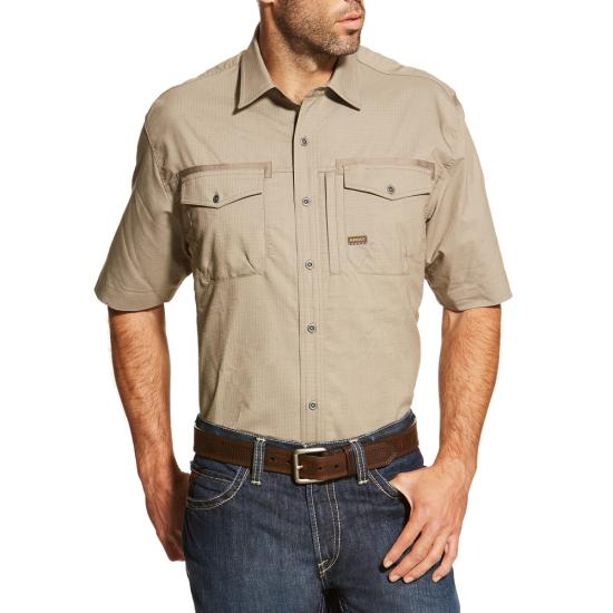 Ariat Rebar Button Front S/S Work Shirt - Brindle