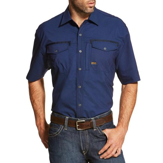 Ariat Rebar Button Front S/S Work Shirt - Navy