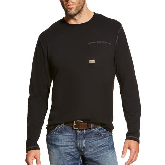 Ariat Rebar Workman Crewneck Pocket L/S Shirt - Black