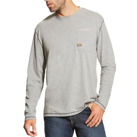 Ariat Reba Workman Crewneck Pocket L/S Shirt - Heather Gray