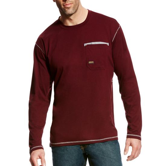 Ariat Rebar Workman Crewneck Pocket L/S Shirt - Malbec