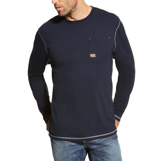 Ariat Rebar Workman Crewneck Pocket L/S Shirt - Navy