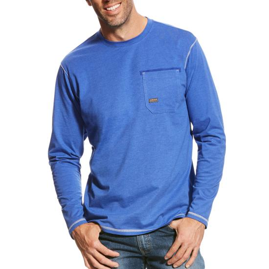 Ariat Rebar Workman Crewneck Pocket L/S Shirt - Royal Blue Heather