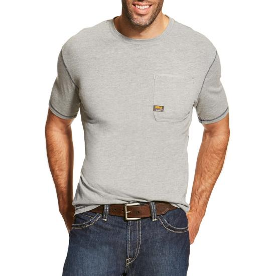 Ariat Rebar Workman Crewneck Pocket S/S Shirt - Heather Gray