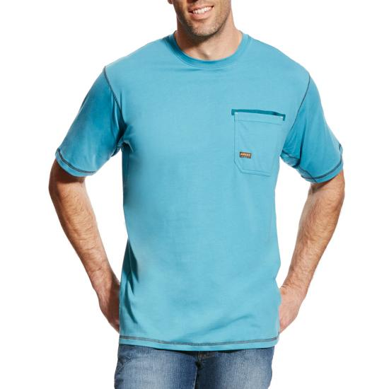 Ariat Rebar Workman Crewneck Pocket S/S Shirt - Larkspur