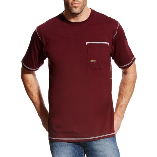 Ariat Rebar Workman Crewneck Pocket S/S Shirt - Malbec