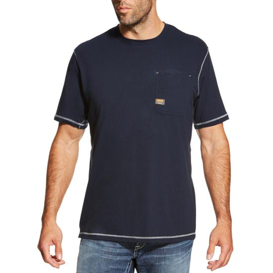 Ariat Rebar Workman Crewneck Pocket S/S Shirt - Navy