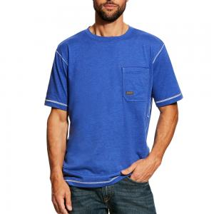 Ariat Rebar Workman Crewneck Pocket S/S Shirt - Royal Heather