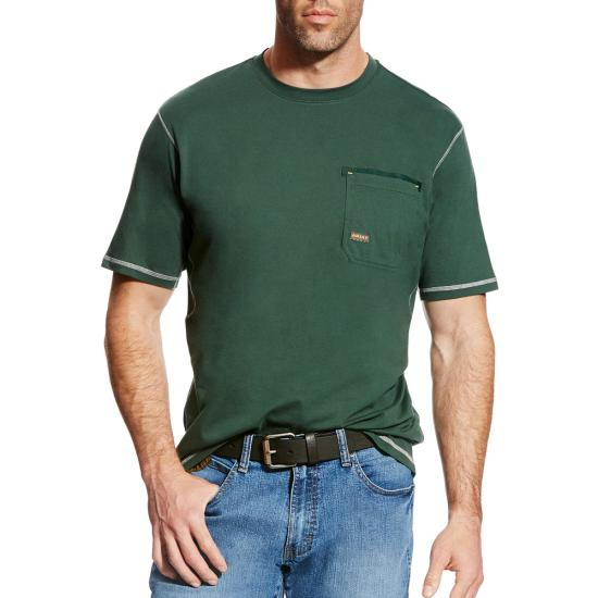 Ariat Rebar Workman Crewneck Pocket S/S Shirt - Sycamore
