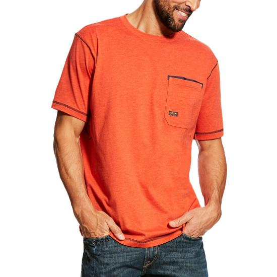 Ariat Rebar Workman Crewneck Pocket S/S Shirt - Volcanic Heather
