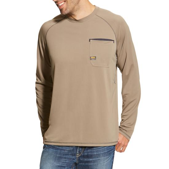 Ariat Rebar Sunstopper Crewneck Pocket L/S Shirt - Brindle