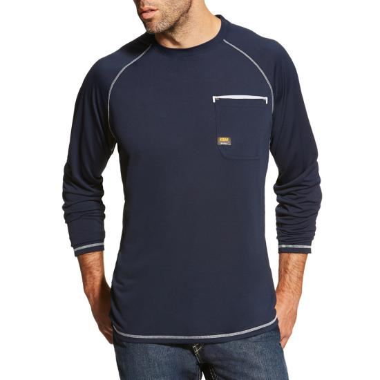 Ariat Rebar Sunstopper Crewneck Pocket L/S Shirt - Navy