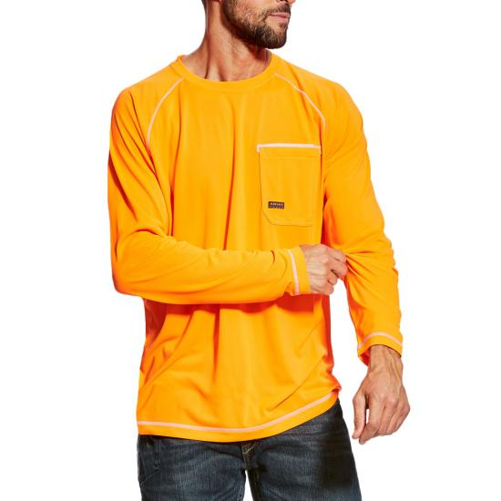 Ariat Rebar Sunstopper Crewneck Pocket L/S Shirt - Orange