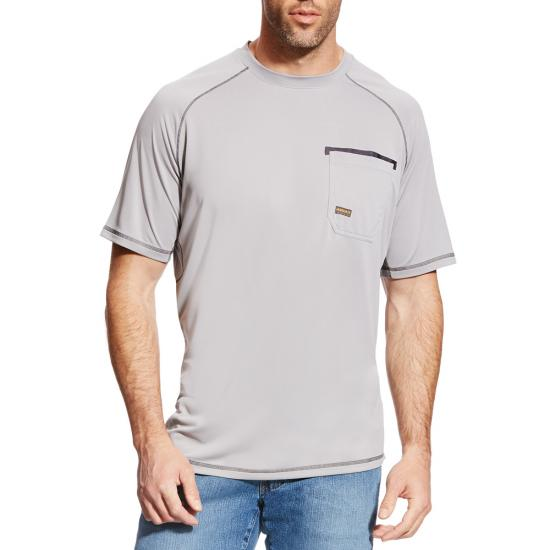 Ariat Rebar Sunstopper Crewneck Pocket S/S Shirt - Alloy