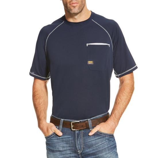 Ariat Rebar Sunstopper Crewneck Pocket S/S Shirt- Navy